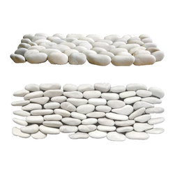 Indo Tile - Standing White Pebble Tile, Carton - A distinctive White Standing Pebble Tile  hand crafted in Bali by cutting pebbles in half and standing them on the cut end on an interlocking mesh backing for seamless wall cladding. We create our standing pebble tiles from the same pebbles that we sort for our premium 12x12 pebble mosaic tiles. The result is a superior product of consistent height and pebble thickness. We do not recommend you compromise your design features with inferior product made from remnants used for loose landscaping stone as the stone sizes are very random and the thinset for adhering becomes apparent.