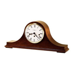 HOWARD MILLER - Howard Miller Mason Tambour-Style Key-Wound Mantel Clock - The special inscribed dial is off-white with a brass finished bezel and Roman numerals.