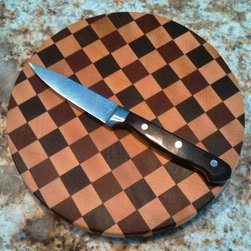 "End Grain Dizzy Circle / Cutting Board - End Grain Combo Circle / Maple - Mahogany - Walnut / 8 3/4"" x 1 1/8"" $50 + shipping"