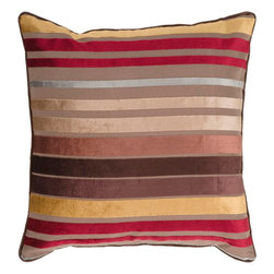 "Surya - Surya JS-023 Sparkling Stripe Pillow, 22"" x 22"", Down Feather Filler - If bold and bright are two words you're looking to define your space, this is the pillow for you. Featuring bold, beautiful stripes colored by bright brown, red, gold, and light blue you will turn heads in any room with this striking piece. This pillow contains a zipper closure and provides a reliable and affordable solution to updating your home's decor. Genuinely faultless in aspects of construction and style, this piece embodies impeccable artistry while maintaining principles of affordability and durable design, making it the ideal accent for your decor."
