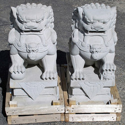 """Garden Stone Installations - A beautifully detailed pair of Chinese Lions, meticulously hand carved from hard limestone.  12"""" wide x 16"""" deep x 26"""" tall, approximately 190lbs each.  (This picture shows the male Chinese Lion on the left with his right front paw on the 'world' protecting it from harm, and the female Chinese Lion in the right with her left front paw on her cub protecting it from harm.)"""