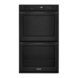 """KitchenAid - Architect II Series KEBK276BBL 27"""" Double Wall Oven with 4.3 cu. ft. per Oven  S - KitchenAid ovens allow you to clearly see all racks from edge to edge without opening the oven door Keeping the door closed helps to minimize temperature swings and promotes even baking"""