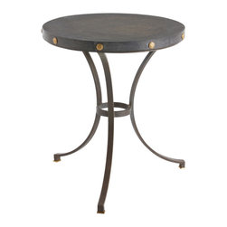 Xander Iron/Marble/Brass Side Table - Marble-topped tables are a traditional mark of restrained, exclusive style in the home, but the Xander Side Table's round top is made from a rough-cut disk of the stone where the mason's chisel-marks are still faintly visible. The result is a breathtaking natural finish that commands far more attention than the usual silky polish. Accenting this magnificence, hammered antiqued brass rivets decorate the tabletop's edges, while three natural iron legs support it.