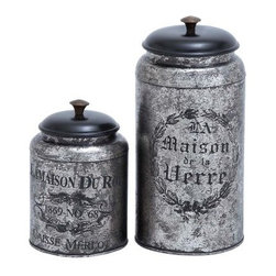 Set of 2 Jars in Black and Silver - Any kitchen would love to count the Set of 2 Jars in Black and Silver among its countertop essentials, and it's easy to see why. Available as a set of two, these jars are crafted of high-quality metal with a heavily burnished black and silver design. French-inspired motifs add to the allure, and you can use these jars for practically anything from storing cookies to flour. With lids in a black finish.