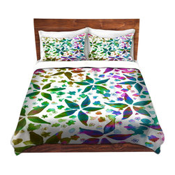 DiaNoche Designs - Duvet Cover Microfiber by Julia Di Sano - Rhapsody Spring - DiaNoche Designs works with artists from around the world to bring unique, artistic products to decorate all aspects of your home.  Super lightweight and extremely soft Premium Microfiber Duvet Cover (only) in sizes Twin, Queen, King.  Shams NOT included.  This duvet is designed to wash upon arrival for maximum softness.   Each duvet starts by looming the fabric and cutting to the size ordered.  The Image is printed and your Duvet Cover is meticulously sewn together with ties in each corner and a hidden zip closure.  All in the USA!!  Poly microfiber top and underside.  Dye Sublimation printing permanently adheres the ink to the material for long life and durability.  Machine Washable cold with light detergent and dry on low.  Product may vary slightly from image.  Shams not included.