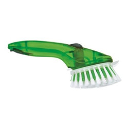 Cuisipro - Cuisipro Pump Action Cleaning Brush, Green - Antibacterial Silver Ion Technology neutralizes germs to prevent growth and stop bad odors. Soft bristles for typical cleaning and hard bristles when pressure is required for hard-to-clean items. Long ergonomic handle make cleaning easier by reaching into deep bowls and mugs. Quick and easy to fill, with simple peel back rubber cap. Food scraper for ground-on food. Replacement heads sold separately (Item 74715605). Dishwasher safe. top shelf.