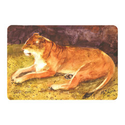 Caroline's Treasures - Lion Kitchen or Bath Mat 24 x 36 - Kitchen or Bath Comfort Floor Mat This mat is 24 inch by 36 inch. Comfort Mat / Carpet / Rug that is Made and Printed in the USA. A foam cushion is attached to the bottom of the mat for comfort when standing. The mat has been permanently dyed for moderate traffic. Durable and fade resistant. The back of the mat is rubber backed to keep the mat from slipping on a smooth floor. Use pressure and water from garden hose or power washer to clean the mat. Vacuuming only with the hard wood floor setting, as to not pull up the knap of the felt. Avoid soap or cleaner that produces suds when cleaning. It will be difficult to get the suds out of the mat.