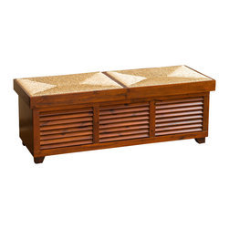 Great Deal Furniture - Cooper Weave Top Mahogany Storage Ottoman Coffee Table - The Cooper is a beautiful and unique piece for your storage needs and doubles as a coffee table. Constructed with mahogany-stained wood, the top of the trunk is made from weaved sea grass material and slides open from both sides for easy access to the storage compartment. The side shutter panel allows you to quickly locate items, giving this piece an overall tropical look. With its sturdy construction, it can be placed in your home or office.