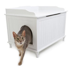 Designer Pet Products - The Designer Catbox Litter Box Enclosure, White - Now you don't have to compromise! The Designer Catbox is a perfect solution to help keep your litter box concealed, but easily accessible to your cats. This elegant piece of furniture is a stylish addition to any home, and also helps to minimize odor and prevent litter from being kicked out onto the floor.
