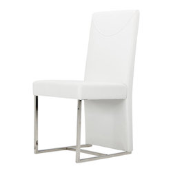 VIG Furniture - A&X Modern White Chair - This stylish design contours in shape with an extended back support not only for design but for additional comfort and has a unique leg base.  The chair features a stylish L-shaped chrome support and leatherette descending lavishly to the base of the chair to give off a finish of sheer elegance.