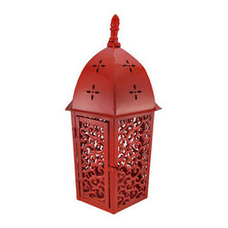 Red Enamel Metal Lantern Candle Holder Hexagon - This beautiful metal hexagonal tabletop lantern style candle holder has a glossy red enamel finish. The lantern features a side door that allows you to insert pillar candles up to 3 1/2 inches in diameter. The lantern is 18 1/2 inches tall, 7 1/2 inches wide and 7 1/2 inches deep. It makes a great gift for friends and family.