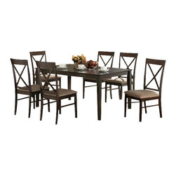 "Casa Blanca - 7-Piece Malibu Collection Cross Back Design Chairs and Dining Table Set - 7-Piece Malibu collection cross back design chairs and espresso finish wood dining table set and fabric seats. This set includes the table with tapered legs and 6 side chairs upholstered with a fabric seat and cross back backs. Table measures 36"" x 60"" X 30"" H. Chairs measure 38"" H to the back. Some assembly required."
