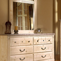 Standard Furniture - Double Dresser w 6 Drawers - Sinai - Enjoy the magnificence of faux Jura granite veining on the surface of this Sinai double dresser with six drawers. Double scalloped kick space and sculptural detailing add appeal and timeless attraction. Complement with optional mirror to create a masterful design. Old fashioned wood color is set against contrasting metal pulls and knobs with a simulated pewter color finish, in addition to a sophisticated simulated Jura granite on the top. Distinguished looking, old-fashioned European style furniture appeals to your refined taste. * Top drawers are felt lined to protect delicate items. An iron grill adorns select pieces.. Simulated Jura granite on case pieces make cleaning easy and adds dimension and color to the design.. Simulated carvings offer texture and richness to the design.. Ample storage featured on the dresser's six drawers and the chest's five drawers help you keep a tidy room. Nightstand features 2 drawers for storing bedside items.. The sturdy tops are a perfect surface for setting your morning cup of coffee.. A warm blend of soft tones and granite color illustrate the European Country style of this collection.. Materials: Wood products with simulated wood grain laminates.. This group may contain plastic parts.. Iron is used for the grills.. Construction: Drawers offer roller side drawer guides allowing for easy operation. . Drawer stops are included for safety.. Hardware: Bail pulls and knobs with simulated pewter color finish.. Finish: Old fashioned wood color and simulated Jura granite.. Care: Surfaces clean easily with a soft cloth.. 63 L x 16 W x 34 H in.