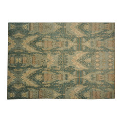 Denim Blue Ikat 100% Wool Uzbek Design 10'x14' Hand Knotted Oriental Rug SH16331 - Hand Knotted Ikat & Suzani Rugs are bold and usually the focal point of the room.  The design is large and is all highly in demand by designers.