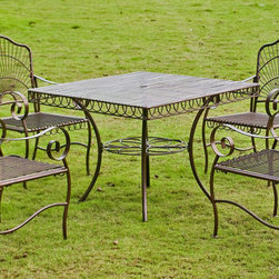 International Caravan - International Caravan Sun Ray Five-piece Iron Lawn Furniture Set - Offering classic beauty and lasting elegance,this iron lawn furniture set is superbly sturdy. Perfect for patio or poolside relaxation,this old-fashioned outdoor seating arrangement includes a table and a set of four matching chairs.