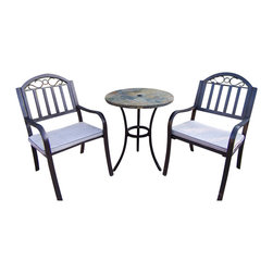 Oakland Living - Oakland Living Stone Art Rochester 3-Piece Bistro Set with Cushions in Coffee - Oakland Living - Patio Bistro Sets - 7710338305CF - About This Product: