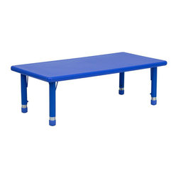 "Flash Furniture - 24""W x 48""L Height Adjustable Rectangular Blue Plastic Activity Table - Kids activity tables are excellent for early childhood development. The primary colors make learning and play time exciting when several colors are arranged in the classroom. This durable table features a plastic top with steel welding underneath along with adjustable steel legs that is sure to last throughout the years."