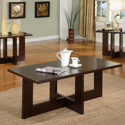 None - Solid Wood Rectangle Coffee Table Set - Add contemporary charm to your living room or den with the addition of this three-piece coffee table set. This attractive trio of tables is made from hardwood with a dark cherry finish and features a bold design that is modern and chic.