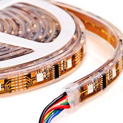 SWDC series Dream-Color Flexible RGB LED Strip - Dynamic color chasing, sequencing, changing, and also static color modes available on the Dream-Color Controller and RGB Strip, individually addressable LEDs allow for sequencing modes. Silicone Encased waterproof flexible LED light strip with 160 high power 5050SMD RGB LEDs programmable for chasing patterns.  5 meter (16.45 ft) waterproof flexible light strips.  For use with RGB-DC83 Controller only.  5VDC operation. Uses HL1606S controller IC.