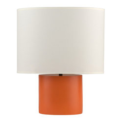 Devo Table Lamp, Oval Base in Carrot, Natural Linen Shade