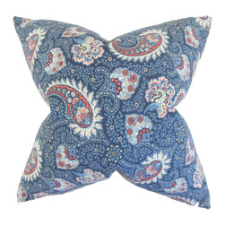 """The Pillow Collection - Wylda Paisley Pillow, Marine 18"""" x 18"""" - Our lovely throw pillow is the answer to your styling needs."""