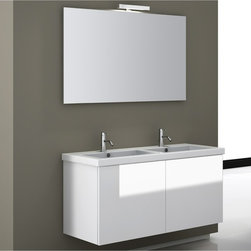 Iotti - 47 Inch Bathroom Vanity Set - The busiest master bathroom will benefit from this twin sink vanity set with modern style and solid performance. The E1 Ecological paneling comes in waterproof Glossy White, Wenge and Gray Oak finishes, with ultra low emissions of indoor pollution. The twin basin fitted sink leaves plenty of room for sundries. Expect long life from the scratch and corrosion resistant wide mirror, that also includes a vanity light. The no handle storage doors soft close for quiet operation. Made in Italy. Set Includes: . Vanity Cabinet (2 doors). Fitted ceramic sink (47.2 inch x 2 inch x 18 inch ). Mirror (47.2 inch ). Vanity Light. Vanity Set Features:. Vanity cabinet made of engineered wood. Cabinet features waterproof panels. Available in Glossy White (as shown), Gray Oak, Wenge. Cabinet features 2 doors. Faucet not included. Perfect for modern bathrooms. Made and designed in Italy. Includes manufacturer 5 year warranty.