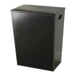 Great Useful Stuff - Kangaroom Classic Black Hamper - Sturdy and roomy, this handsome hamper makes laundry day a breeze (side cut-outs make it easy to carry, or just pull out the removable liner). With its clean lines, sleek shape and chic faux-leather finish, it'll make you want to put your dirty laundry on display.
