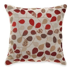 Brentwood Originals - Bayberry Rouge 20-Inch Square Toss Pillow - Calling upon the rich color palette of fall, this beautiful toss pillow features a background of beige with a woven leaf design in rust, taupe, brown and brick red. The reverse is a solid faux suede.