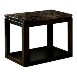 Standard Furniture - Standard Furniture Bella 24 Inch Chair Side Table in Deep Brown - Quality veneers over wood products and select solids used throughout. Group may contain some plastic parts. Bar pulls in brushed nickel color finish. Deep brown color finish with faux marble travertine color tops. Surfaces clean easily with a soft cloth.