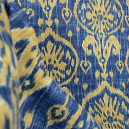 Kauf - Turkestan Twilight Ikat Damask Blue Fabric By The Yard - Damask Ikat fabric by Kaufman. The blue cotton drapery fabric is also great for bedding, pillows and light upholstery projects.