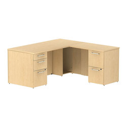 "Bush - Bush 300 Series 66"" L-Shape 2-Pedestal Desk Set in Natural Maple - Bush - Commercial Grade Office - 300S026AC - Transitional, classic styling fits ideally in any residential, commercial or office environment with the Bush Natural Maple 300 Series 66""W X 30""D Single Pedestal L-Desk (B/B/F) with 36""W Return (F/F). Slightly smaller top surface and return still offer plenty of workspace. Two box drawers and one file drawer in the pedestal store files or office supplies. The 36"" Return features two file drawers on fully extendable drawer slides for easy access to back. All file drawers accommodate letter- legal or A4-size files. Wire grommets control unsightly cords and cables, keeping desk and return surfaces clutter-free. Return complements the desk and offers additional storage at your fingertips. Rich, Mocha Cherry finish fits beautifully in executive spaces. Tough, rugged work surfaces resist scratching, stains, dings and dents, looking good for years. Includes BBF Limited Lifetime warranty."