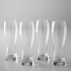 """Horchow - Four """"Brewmasters"""" Beer Glasses - Bring a bit of the pub home with these beer glasses. Clear glass with etched design. Hand wash. Hold 28 oz. Set of four. Imported."""