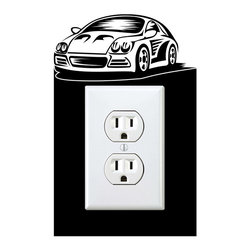 StickONmania - Outlet Sports Car #3 Sticker - a vinyl decal sticker to decorate a wall outlet.  Decorate your home with original vinyl decals made to order in our shop located in the USA. We only use the best equipment and materials to guarantee the everlasting quality of each vinyl sticker. Our original wall art design stickers are easy to apply on most flat surfaces, including slightly textured walls, windows, mirrors, or any smooth surface. Some wall decals may come in multiple pieces due to the size of the design, different sizes of most of our vinyl stickers are available, please message us for a quote. Interior wall decor stickers come with a MATTE finish that is easier to remove from painted surfaces but Exterior stickers for cars,  bathrooms and refrigerators come with a stickier GLOSSY finish that can also be used for exterior purposes. We DO NOT recommend using glossy finish stickers on walls. All of our Vinyl wall decals are removable but not re-positionable, simply peel and stick, no glue or chemicals needed. Our decals always come with instructions and if you order from Houzz we will always add a small thank you gift.