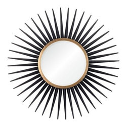 Z Gallerie - Rey Mirror - Dramatically inspired by the reflection of light rays, our Black Rey Mirror pays homage to mid-century modern aesthetics.  With a 12 inch mirror serving as the center point, this decorative piece brings impact and style to its surroundings.  Finished in a lustrous hue of black and accented with gold, each undulating ray impressively creates dimensionality and layers to the piece.  Available in either black with gold or silver.