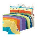 Blancho Bedding - Colorful Ocean100% Cotton 3PC Embroidered Patchwork Quilt Set Full/Queen Size - Set includes a quilt and two quilted shams (one in twin set). Shell and fill are 100% cotton. For convenience, all bedding components are machine washable on cold in the gentle cycle and can be dried on low heat and will last you years. Intricate vermicelli quilting provides a rich surface texture. This vermicelli-quilted quilt set will refresh your bedroom decor instantly, create a cozy and inviting atmosphere and is sure to transform the look of your bedroom or guest room.