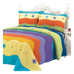 Blancho Bedding - [Colorful Ocean]100% Cotton 3PC Embroidered Patchwork Quilt Set(Full/Queen Size) - Set includes a quilt and two quilted shams (one in twin set). Shell and fill are 100% cotton. For convenience, all bedding components are machine washable on cold in the gentle cycle and can be dried on low heat and will last you years. Intricate vermicelli quilting provides a rich surface texture. This vermicelli-quilted quilt set will refresh your bedroom decor instantly, create a cozy and inviting atmosphere and is sure to transform the look of your bedroom or guest room.