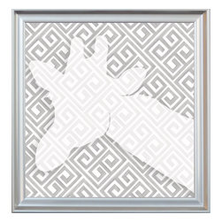 """Doodlefish - Giraffe Silhouette - Artist Regina Nouvel created a unique graphical hand-drawn Greek Key background for this Giraffe Silhouette. This unique combination of traditional hand sketched pattern and modern graphic based on safari photography is finished in a sleek silver frame. The artwork is a 14"""" x 14"""" canvas giclee, that is a finished size of approximately 17"""" x 17"""". The artwork is created and produced in the USA."""