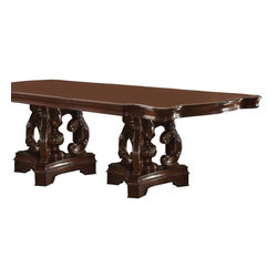ACME Furniture - Acme Frederick Double Pedestal Dining Table in Cherry - This stunning Frederick Double Pedestal Dining Table by Acme Furniture is the ideal focal point for any formal dining area. It features an intricately carving design on pedestal and clean smooth table top with unique edge styling.