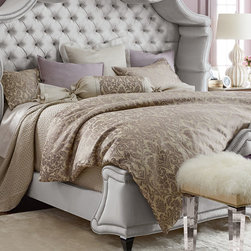 """Fino Lino Linen & Lace - Marquis Quilted King Coverlet 108"""" x 92"""" - SILVER (KING) - Fino Lino Linen & LaceMarquis Quilted King Coverlet 108"""" x 92"""""""