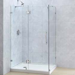 "BathAuthority LLC dba Dreamline - QuatraLux Frameless Hinged Shower Enclosure, 34 5/16"" D x 46 5/16"" W x 72"" H, Ch - The QuatraLux shower enclosure delivers an upscale modern look to your bathroom at an incredible value. Get the look of custom glass with premium 3/8 in. thick tempered glass and a sleek frameless design. The QuatraLux uses self-closing solid brass hinges for a secure closure. Install the QuatraLux on a custom tile floor or combine with a DreamLine shower base for a streamlined transformation."