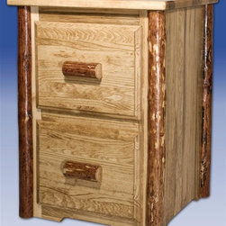 Montana Woodworks - Glacier Country File Cabinet w 2 Drawers - Handcrafted. Two drawers. Letter sized file drawers. Full extension ball bearing slides. 20 years limited warranty. Made from solid American grown pine. Hand-crafted in the US, each Montana Woodwork product is made from unprocessed, solid wood that highlights the character of its source tree with unique knots and grains. Made in USA. No assembly required. 23 in. W x 21 in. D x 31 in. H (60 lbs.)Similar to the four drawer file cabinet, just smaller for a different look, different usage.  This two drawer unit features all of the top of the line features of our standard four drawer file cabinet.