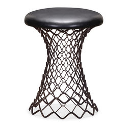 Zuo Modern Contemporary, Inc. - Spindle Stool Rusted metal frame & Black - Like stretched chain mail, the Spindle Stool lends a Game of Thrones element to any decor. Made of rustic black metal with a leatherette cushion. The broad yet contoured stand makes it an eye-grabbing piece.