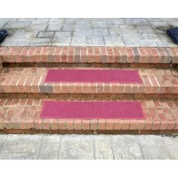 """Dean Flooring Company - Dean Indoor/Outdoor Non Skid Carpet Stair Treads - Color: Burgundy 36"""" x 9"""" (4) - Dean Indoor/Outdoor Non Skid Carpet Stair Treads - Color: Burgundy 36"""" x 9"""" (4) : Indoor/Outdoor Non-Skid Carpet Stair Treads (Set of 4) by Dean Flooring Company. Face: 100% Hi UV stabilized polypropylene fiber. Backing: All weather non-skid latex rubber. Edges: Bound with color matching binding tape.. Size: 36"""" x 9"""" Each set includes four stair treads. Fade resistant. Commercial or residential. Helps prevent slips on your stairs. Great for helping your dog easily navigate your slippery staircase. Reduces noise. Reduces wear and tear on your stairs. Easy to clean (hose off, sweep, vacuum, spot clean). Attractive: adds a fresh new look to your staircase. Easy DIY installation with heavy duty indoor/outdoor double sided carpet tape (not included - sold separately). Made in the USA! Add a touch of warmth and style to your home today with stair treads from Dean Flooring Company! This product is designed, manufactured, and sold exclusively by Dean Flooring Company. We do not sell our products for resale to any other retailers."""