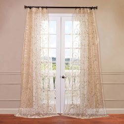 Half Price Drapes - Bella Ivory 50 x 120-Inch Embroidered Sheer Curtain - - HPD has redefined the construction of sheer curtains and panels. Our Embroidered Sheer Collection are unmatched in their quality. Each panel creates a beautiful diffusion of light  - Single Panel  - Non-Weighted  - Pole Pocket  - Cleaning/Care: Dry Clean Half Price Drapes - SHCH-EMB20135-120