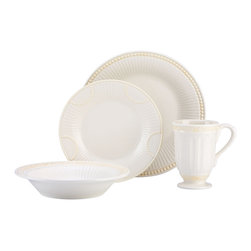 Lenox - Lenox Butler's Pantry Buffet 4-piece Dinnerware Place Setting - Each piece in this handsome Butler's Pantry Buffet place setting bears beautifully sculpted accents. With scrollwork on the bowl and mug, raised dots on the accent plate and fluting on the dinner plate, this place setting adds elegance to any table.