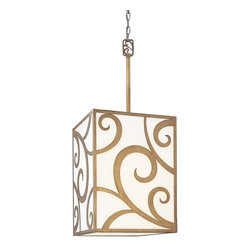 """Troy Lighting - Troy Lighting Pierre Transitional Pendant Light X-5572F - Adorned in an array of alluring swirls, this Transitional Pendant Light by Troy Lighting is amusing to look at yet contains a high level of sophistication. The combination of its golden Autumn Leaf Finish and Frosted White Glass presents an elegant and stylish appearance that will look wonderful in any home. The 12"""" stem is not included in the measurements. The use of the stem is optional."""