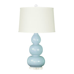 "Bungalow 5 - Bungalow 5 Hutton Light Blue Table Lamp Base - Designs that look comfortably familiar yet strikingly fresh are the hallmark of Bungalow 5. The Hutton table lamp decorates contemporary living rooms and bedrooms with a curvaceous silhouette. Beneath a classic drum shade, this porcelain fixture's dark light blue hue and clear acrylic base provide alluring style. Available with an optional brown burlap, natural linen or white paper shade. Accepts one 150W max bulb (not included). Functions with a three-way switch. 9""W x 30""H."