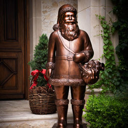 "Horchow - Outdoor Santa Figure - Exclusively ours. Bronze-hued Santa greets your guests with a refined air as they arrive. Made of polyester resin/styrene/fiberglass. 26.75""W x 17.5""D x 58.5""T. Imported. Boxed weight, approximately 73.7 lbs. Please note that this item may requ..."
