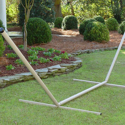 None - Taupe Steel Hammock Stand - This durable hammock stand helps you enjoy the comfort and relaxation of an afternoon in the hammock. The stand's neutral taupe color will complement a range of hammock slings. Thanks to the steel construction,you can lounge or swing with confidence.