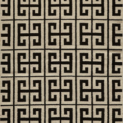 Laguna LG-05 Black Rug - 2'x3' - Geometric patterns, vibrant colors and chic simplicity all collaborate to make the flat-weave Dhurry collection, Laguna. Made in India of 100% wool, Laguna utilizes a vibrant color palette that plays off geometric patterns often found in paving stones, basket weaves and nature.